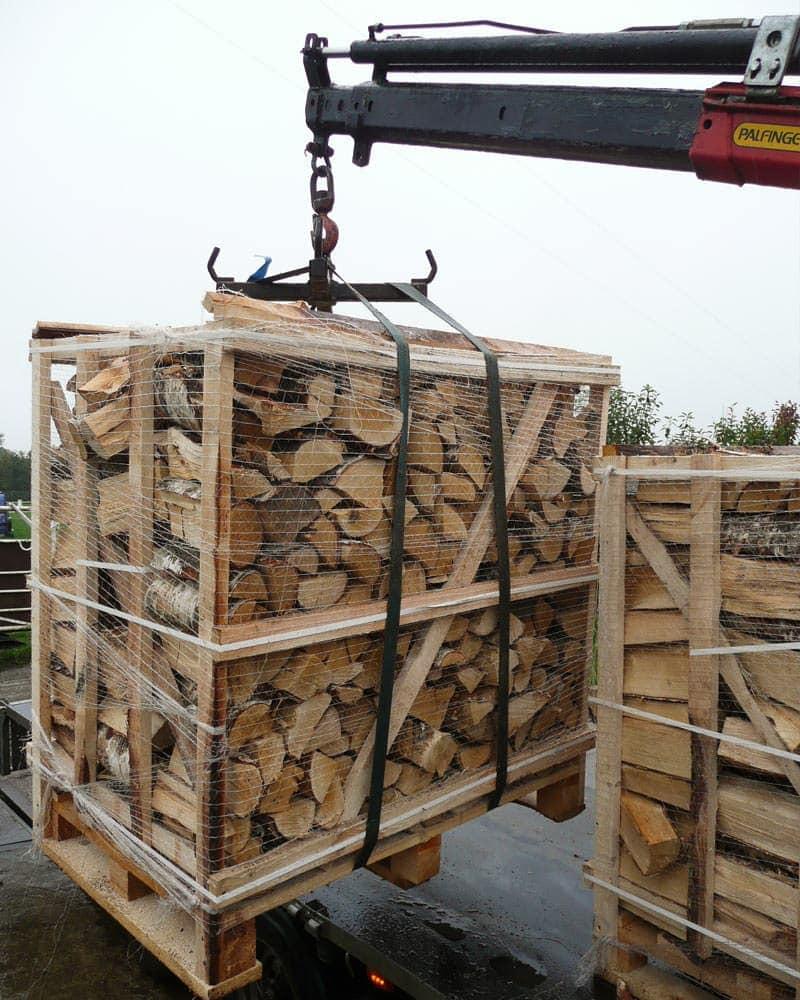 Stacked Pallet of Kiln Dried Hardwood Logs